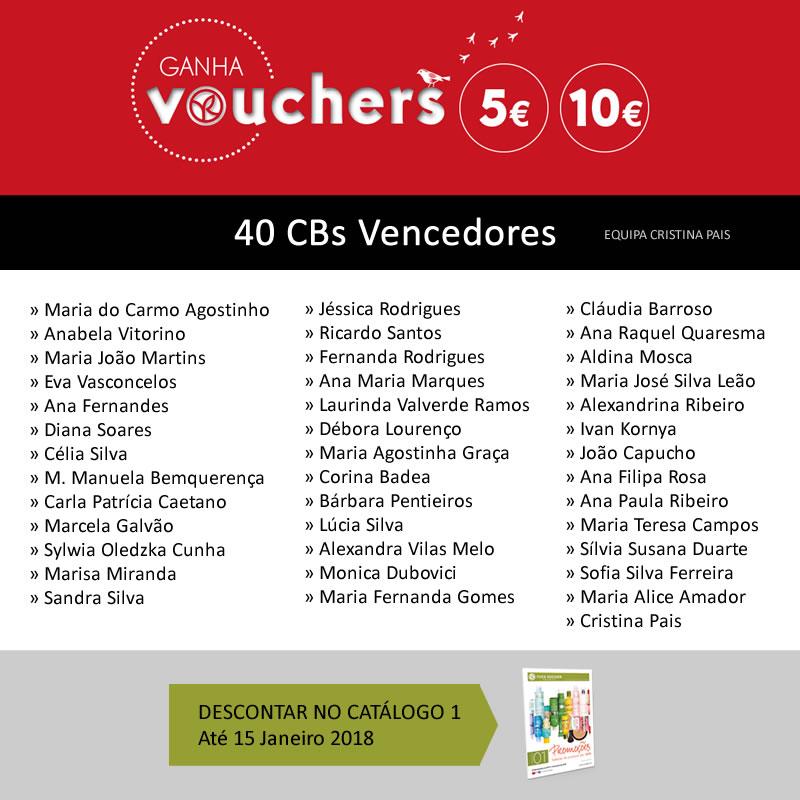 Lista de CBs vencedores dos Vouchers Yves Rocher C17/2017 - Equipa de Cristina Pais