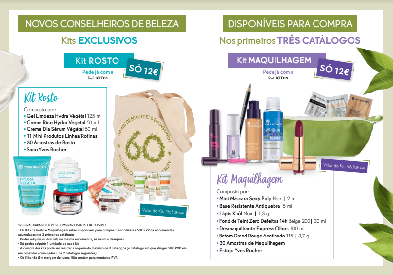 Programa de Boas-Vindas Yves Rocher: Kits de Rosto e Maquilhagem