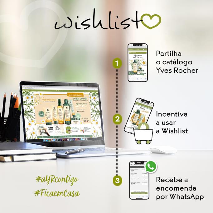 Ferramenta Wishlist do catálogo online Yves Rocher Portugal