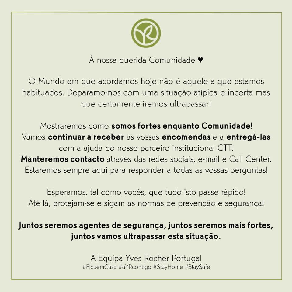 Coronavírus | Mensagem à Comunidade Yves Rocher